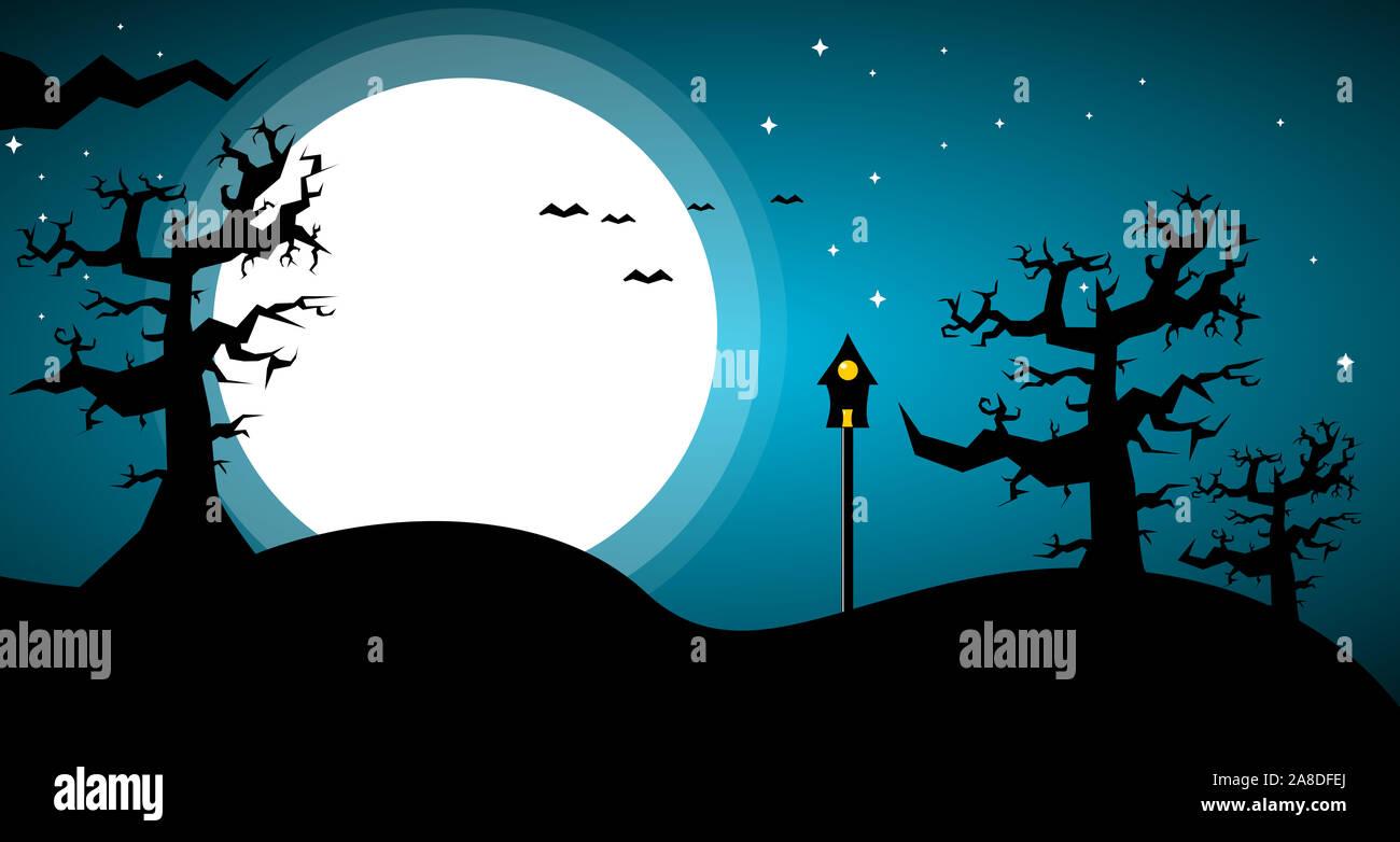Escenas de miedo con la luna llena y la sombra de la naturaleza Foto de stock