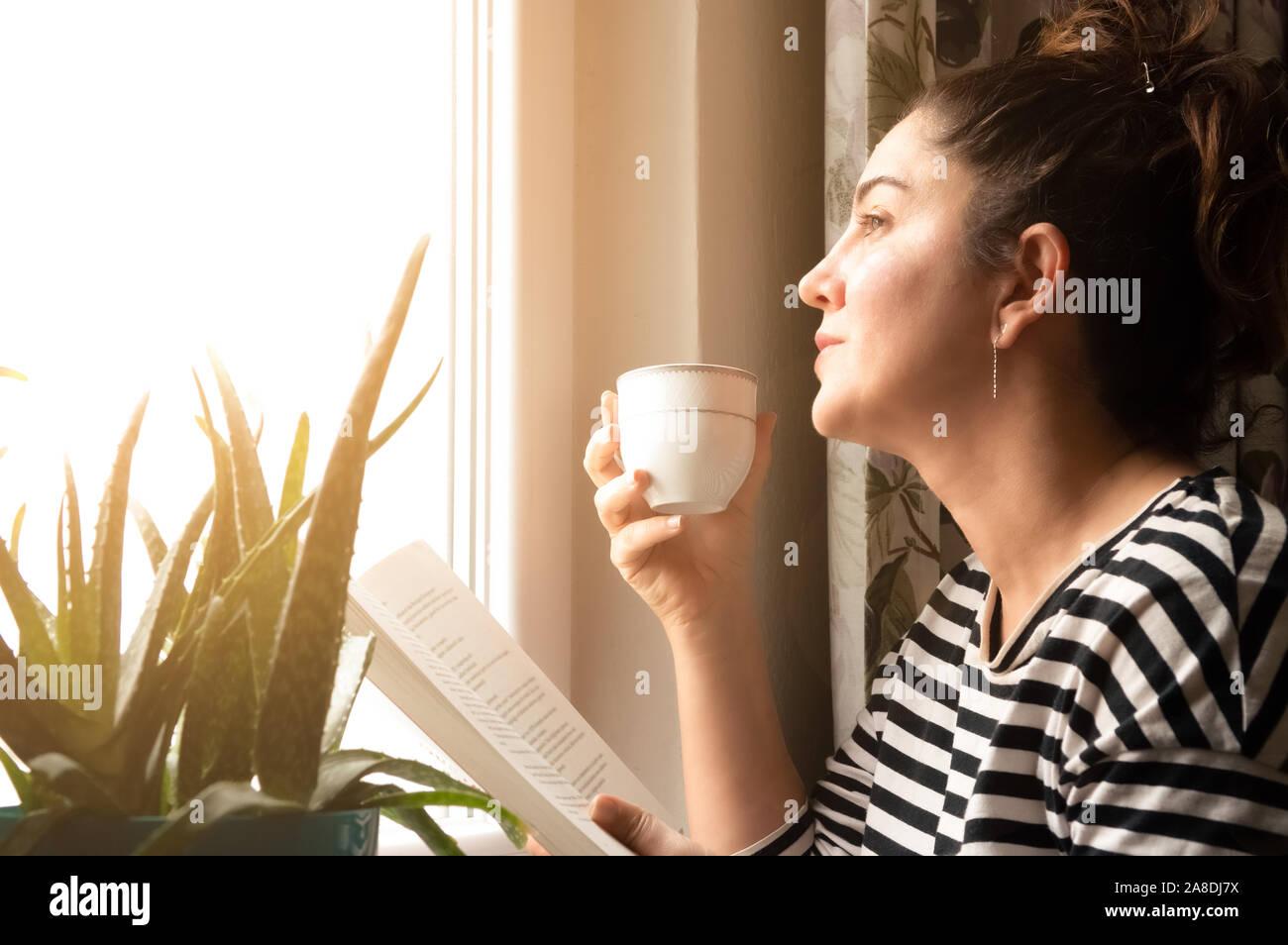 Retrato de un adulto morena encantadora mujer vistiendo ropa casual leyendo un libro y beber café o té en la casa cerca de la ventana. Soñar co Foto de stock