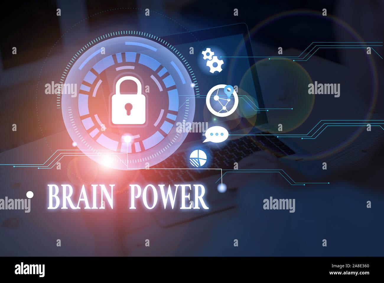 Escritura a mano Conceptual Mostrando el poder del cerebro. Capacidad para comprender el concepto significado para comprender y aprovechar la experiencia Foto de stock