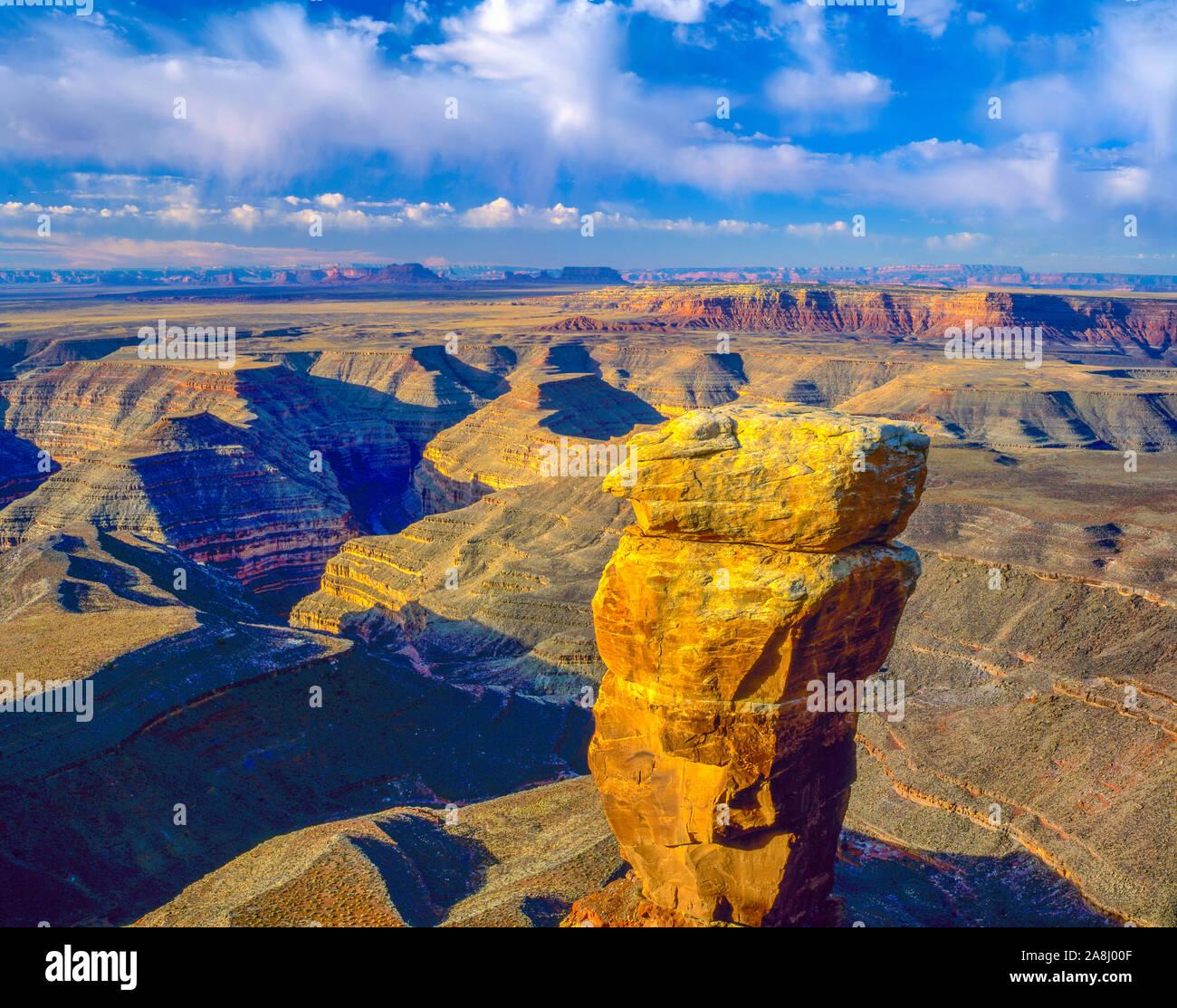 Muley el punto vista, Glen Canyon National Recreation Aea, Utah, Río San Juan, cuellos de cisne, vista hacia el Valle Monumento Foto de stock