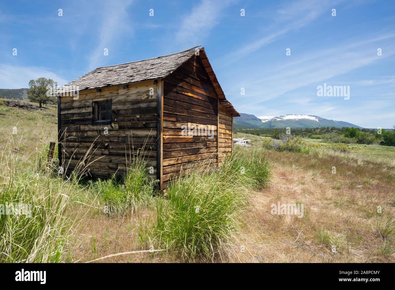 Ben Riddle Cabina, parte del histórico Riddle Hermanos Ranch, Steens Mountain, Oregon. Foto de stock