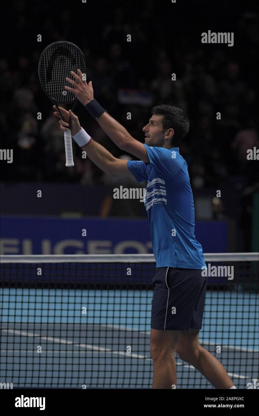 Londres, Italia. 10 Nov, 2019. djokovic durante Nitto finales ATP - Tenis Internationals - Crédito: LPS/Roberto Zanettin/Alamy Live News Foto de stock