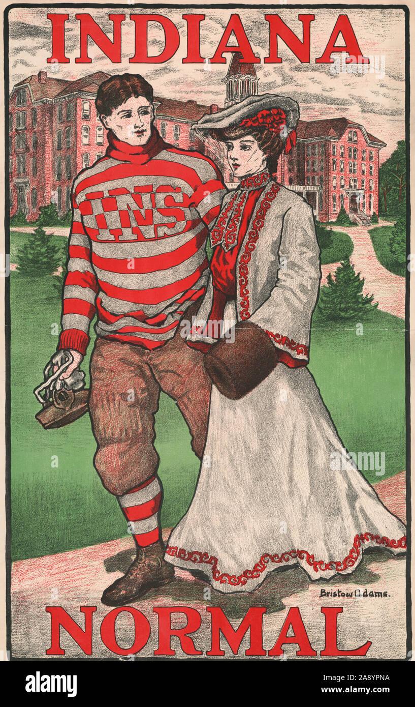 Indiana normal. Anuncio póster que muestra el joven jugador de fútbol y caminar en el campus. 1902 Foto de stock