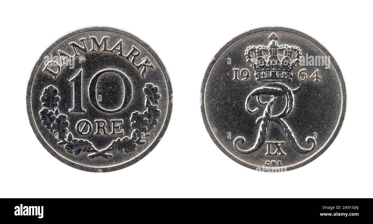 Moneda de 10 coronas noruegas de Dinamarca Foto de stock