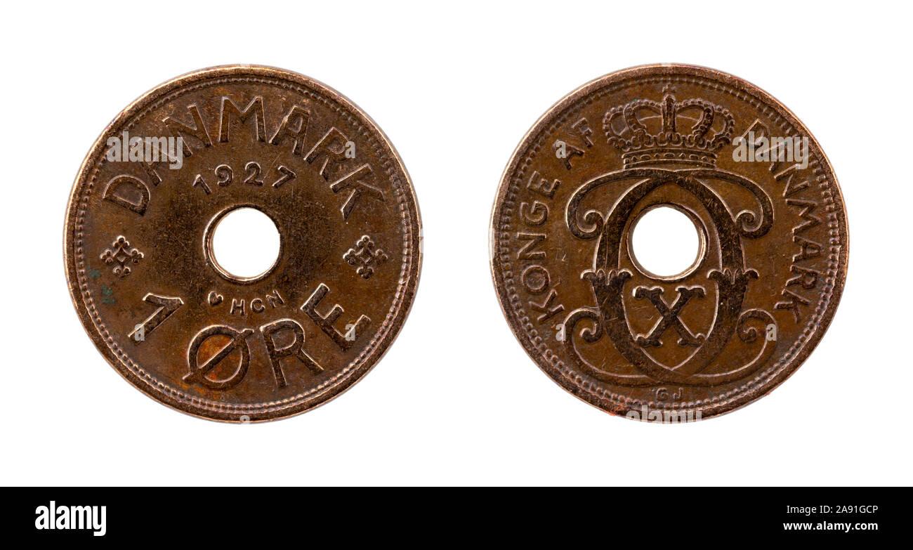 1 coronas noruegas Coin de Dinamarca Foto de stock