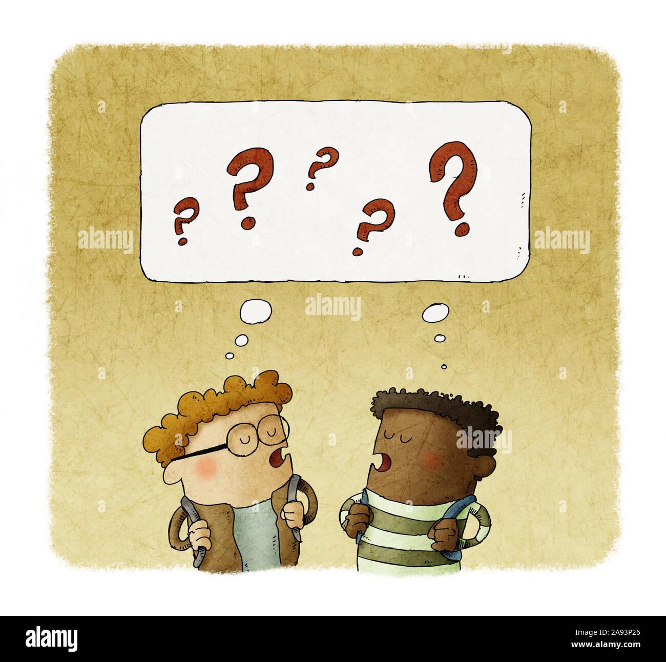 Ilustración de dos niños pequeños el pensamiento con signos de pregunta sobre sus cabezas. Foto de stock