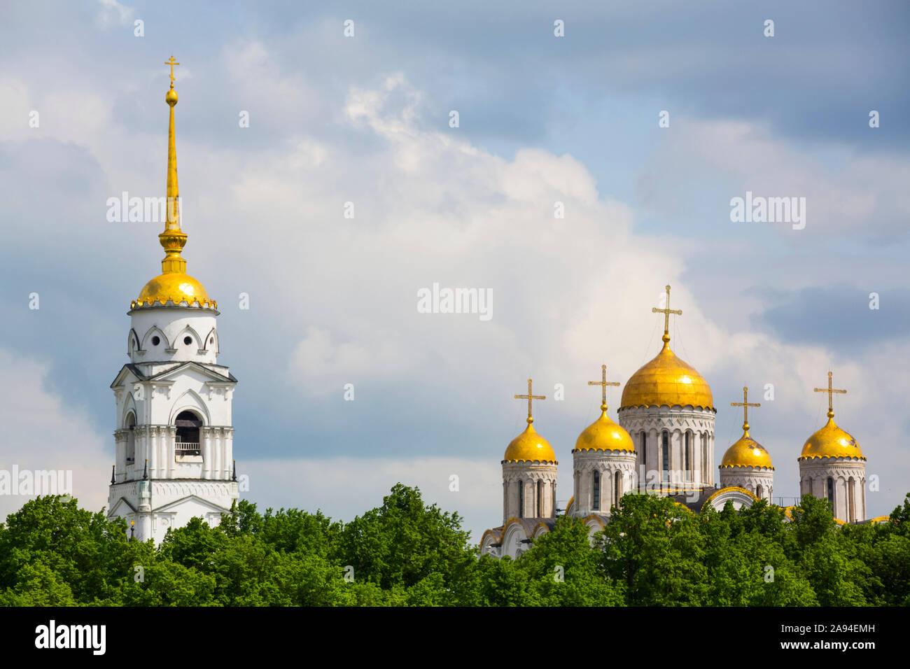Catedral de la Asunción con campanario; Vladimir, Vladimir Oblast, Rusia Foto de stock