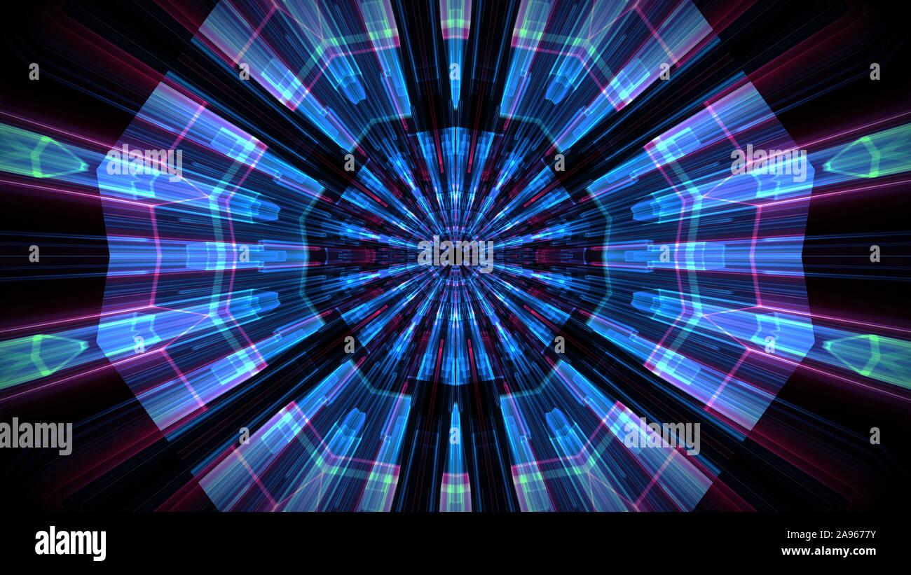 Hi-tech neon túnel para grandes volúmenes de datos y tecnología antecedentes. Foto de stock