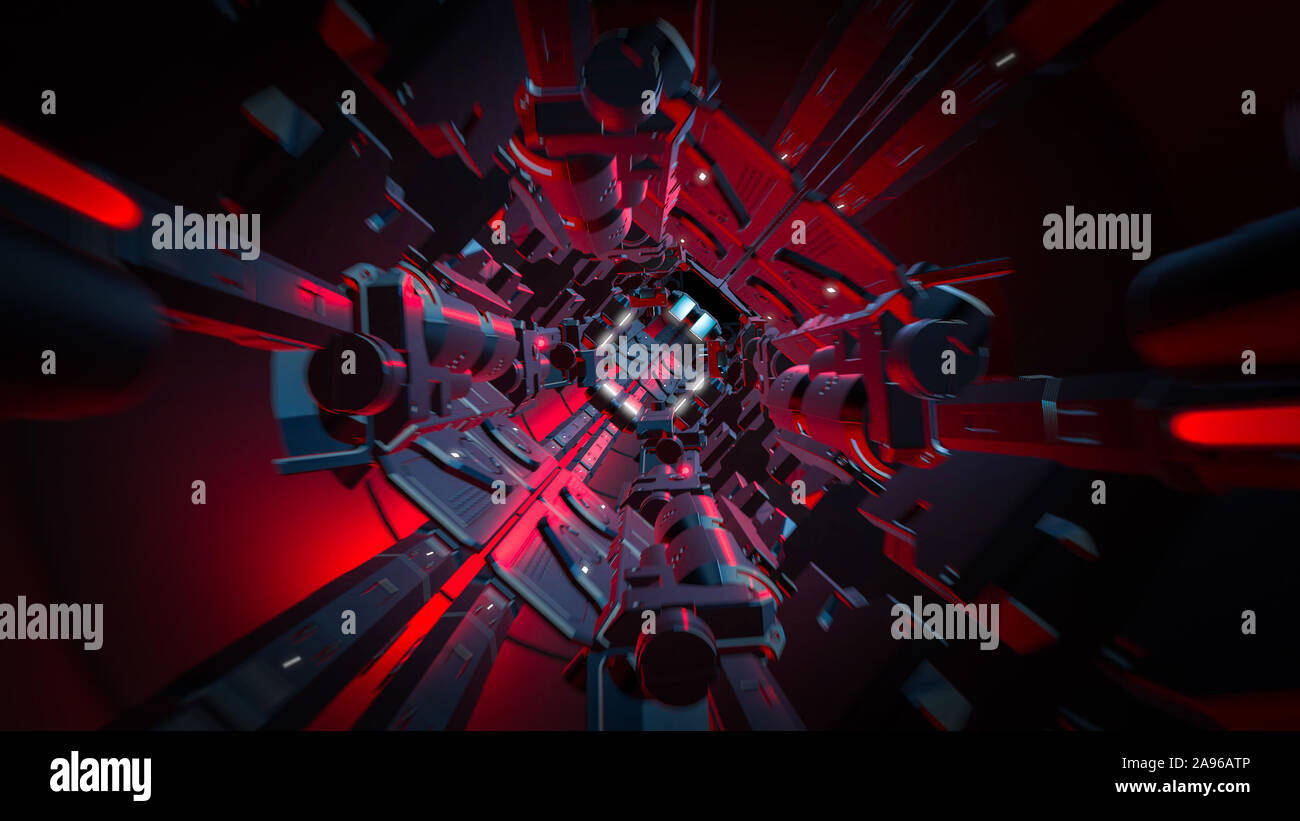 3D Render de túnel futurista con luz. Resumen Antecedentes, negocios, ciencia ficción, la tecnología, el transporte o el concepto de ciencia. Foto de stock