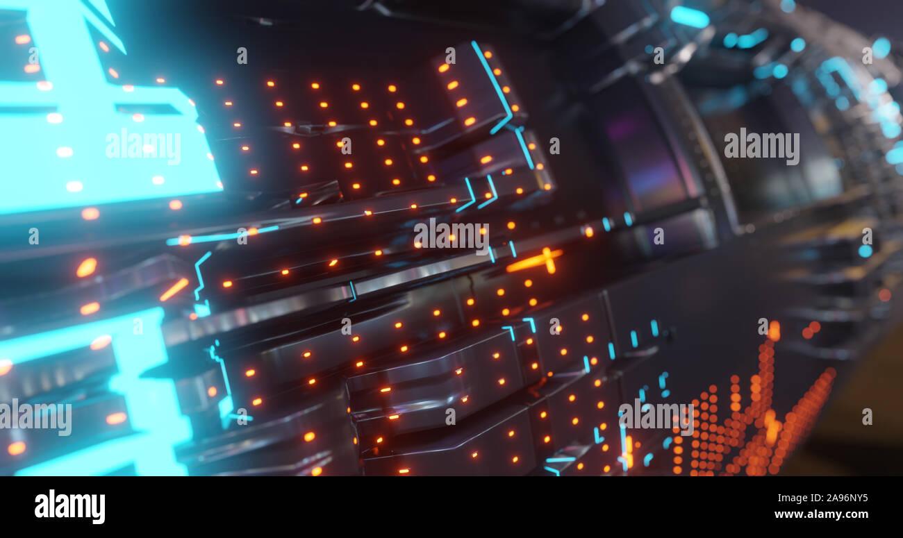 Tecnología de fondo abstracto, LED parpadeante y partículas. La animación de la señal del circuito eléctrico con luz y resplandor Bokeh. Concepto futurista. 3D Foto de stock