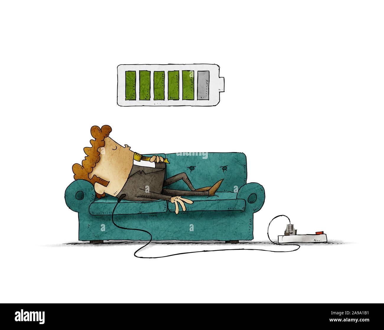 Ilustración de un empresario en el sofá está conectado a la red eléctrica mientras se recarga la energía. Concepto de recarga aislados. Foto de stock