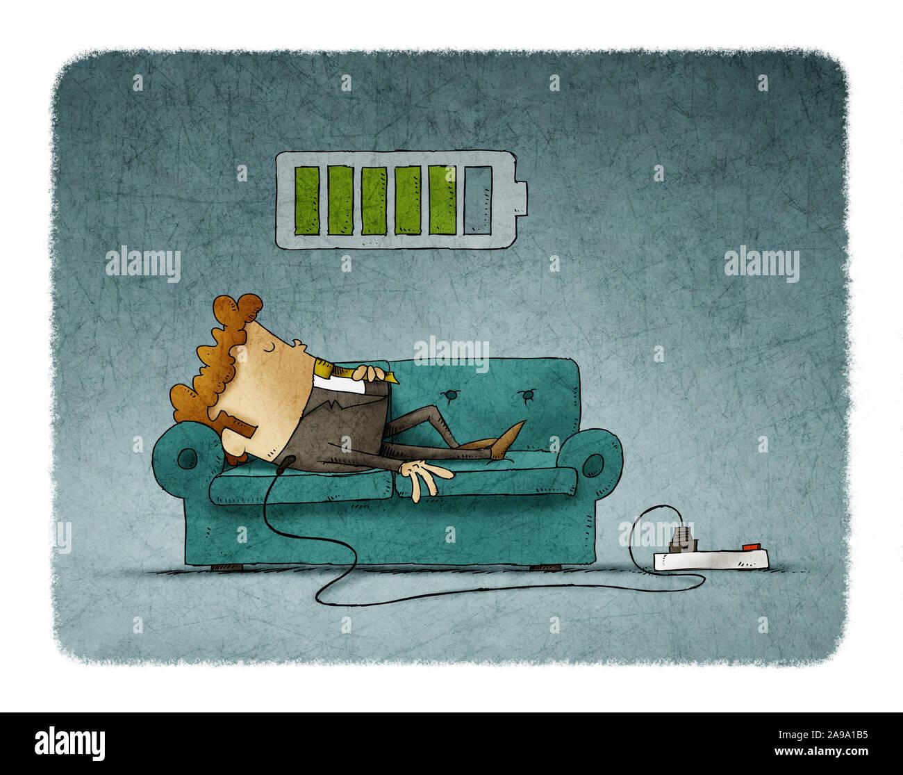 Ilustración de un empresario en el sofá está conectado a la red eléctrica mientras se recarga la energía. Concepto de recarga. Foto de stock