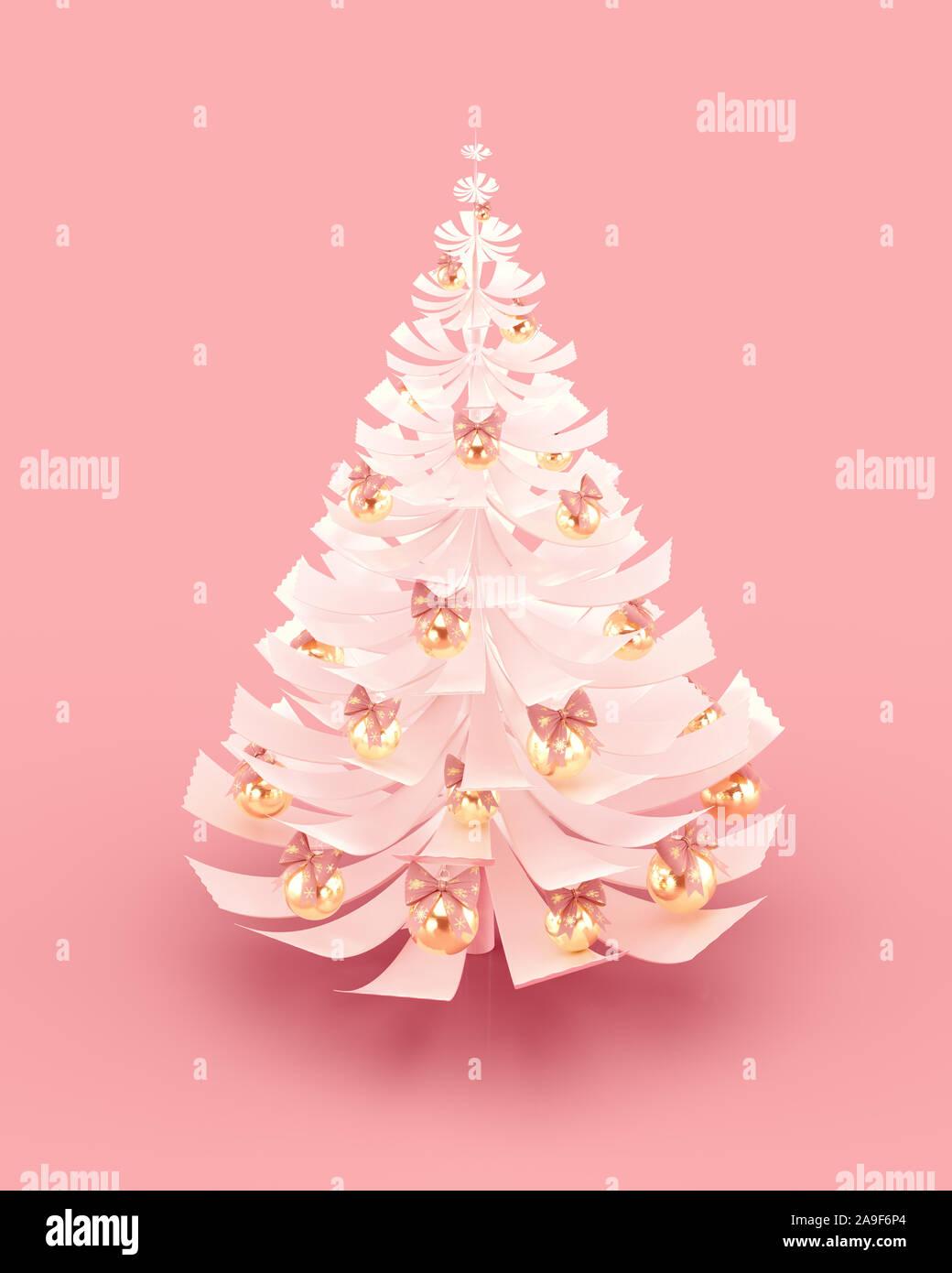 Decorado en blanco para el árbol de Navidad Feliz Navidad y Próspero Año Nuevo diseño de tarjetas de felicitación. 3D rendering. Foto de stock