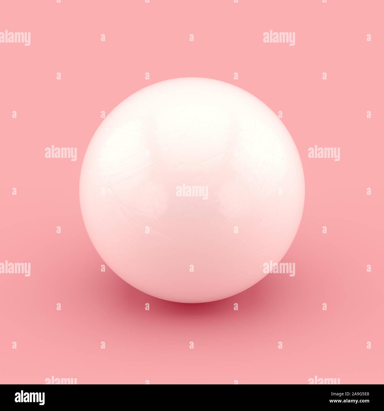 Esfera blanca con arañazos e imperfecciones. Representación 3D realistas. Foto de stock