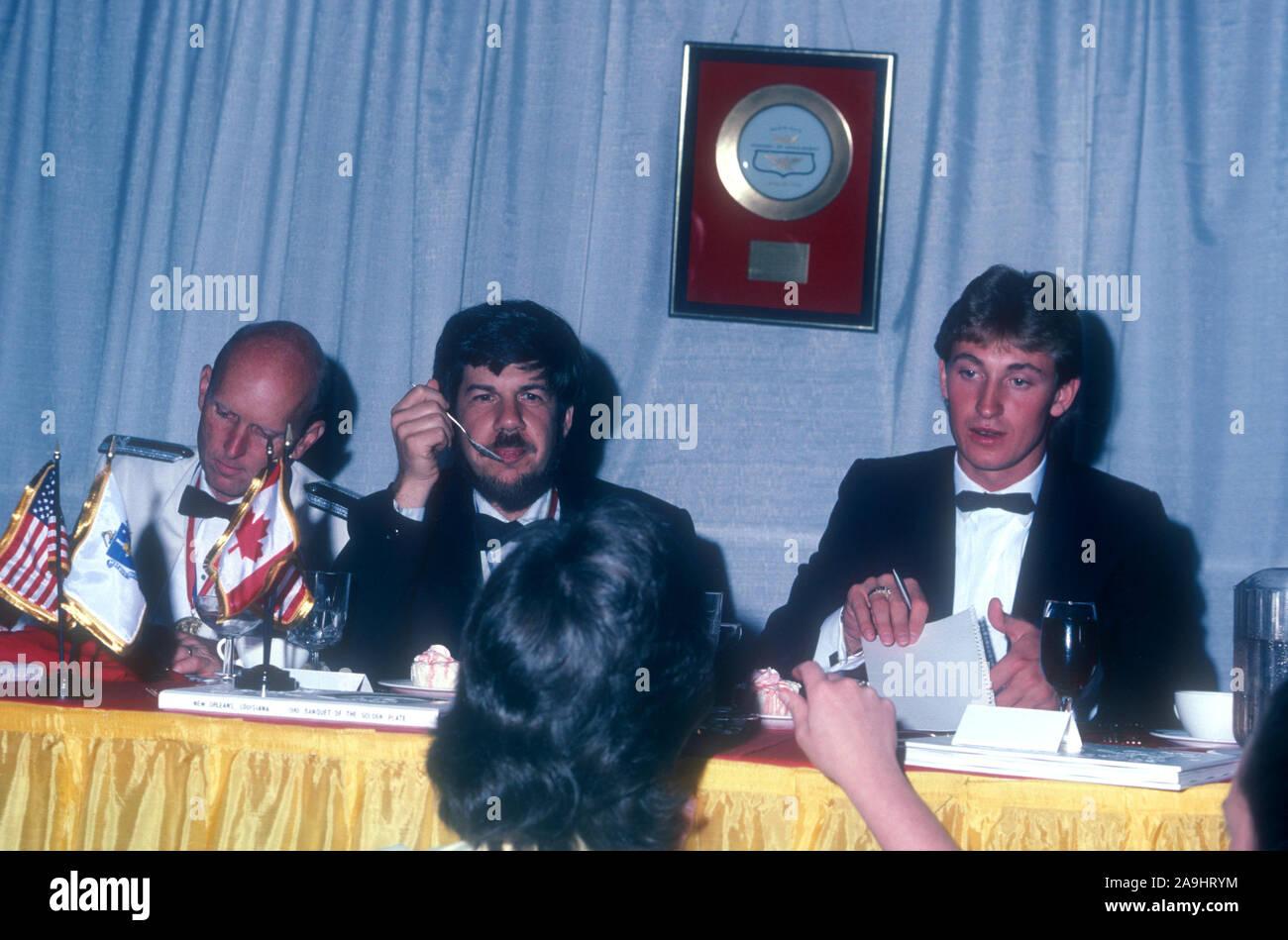 NEW ORLEANS, LA - 24 de junio: El Coronel C. Gordon Fullerton, el Dr. Stephen Jay Gould y jugador de hockey Wayne Gretzky sentarse en una mesa durante 1982 la Academia de Logros Premios placa de oro el 24 de junio de 1982 en Nueva Orleans, Luisiana. (Foto por Hy Peskin) *** Local Caption *** Gordon Fullerton;Stephen Jay Gould;Wayne Gretzky Foto de stock