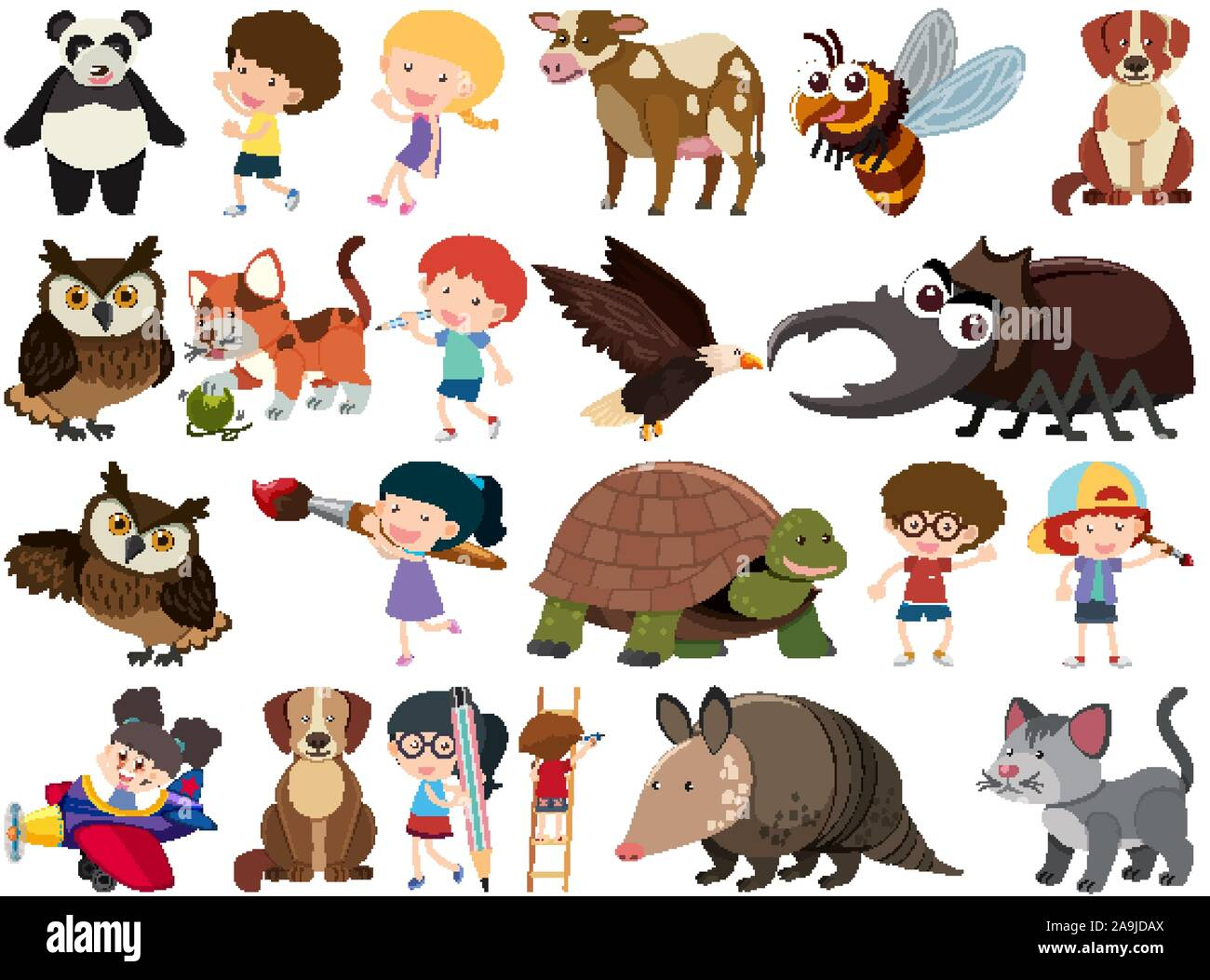 Conjunto de objetos aislados tema niños y animales ilustración Ilustración del Vector