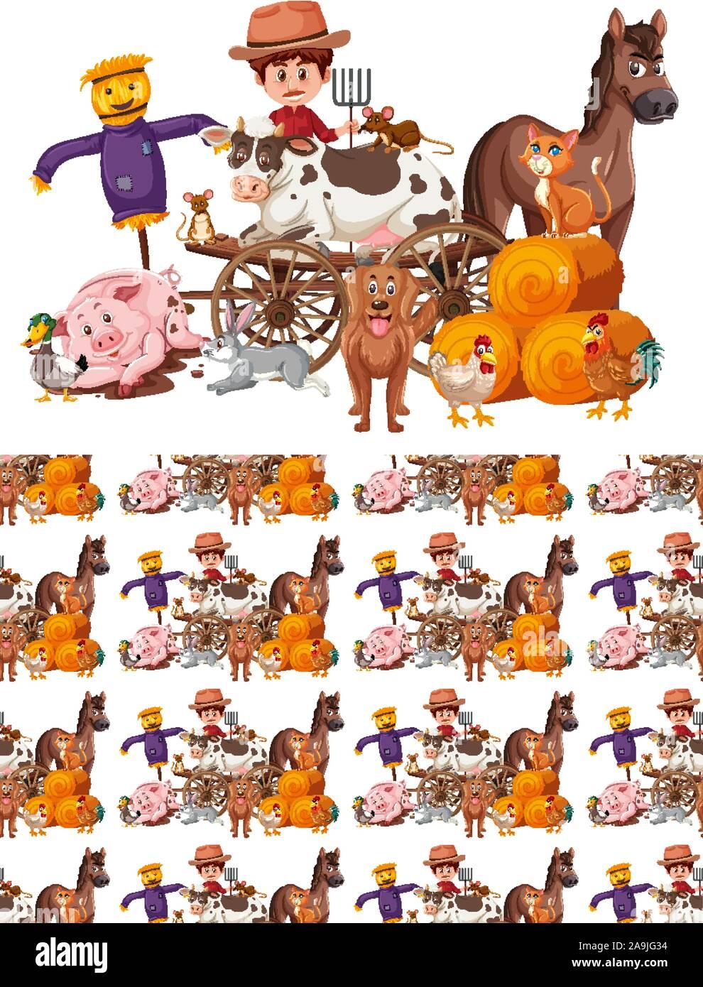 Diseño de fondo sin fisuras con el agricultor y animales ilustración Ilustración del Vector