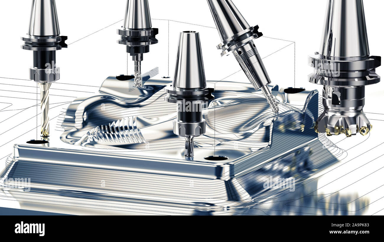 La metalurgia industrial proceso de corte por la fresa, 3D rendering Foto de stock