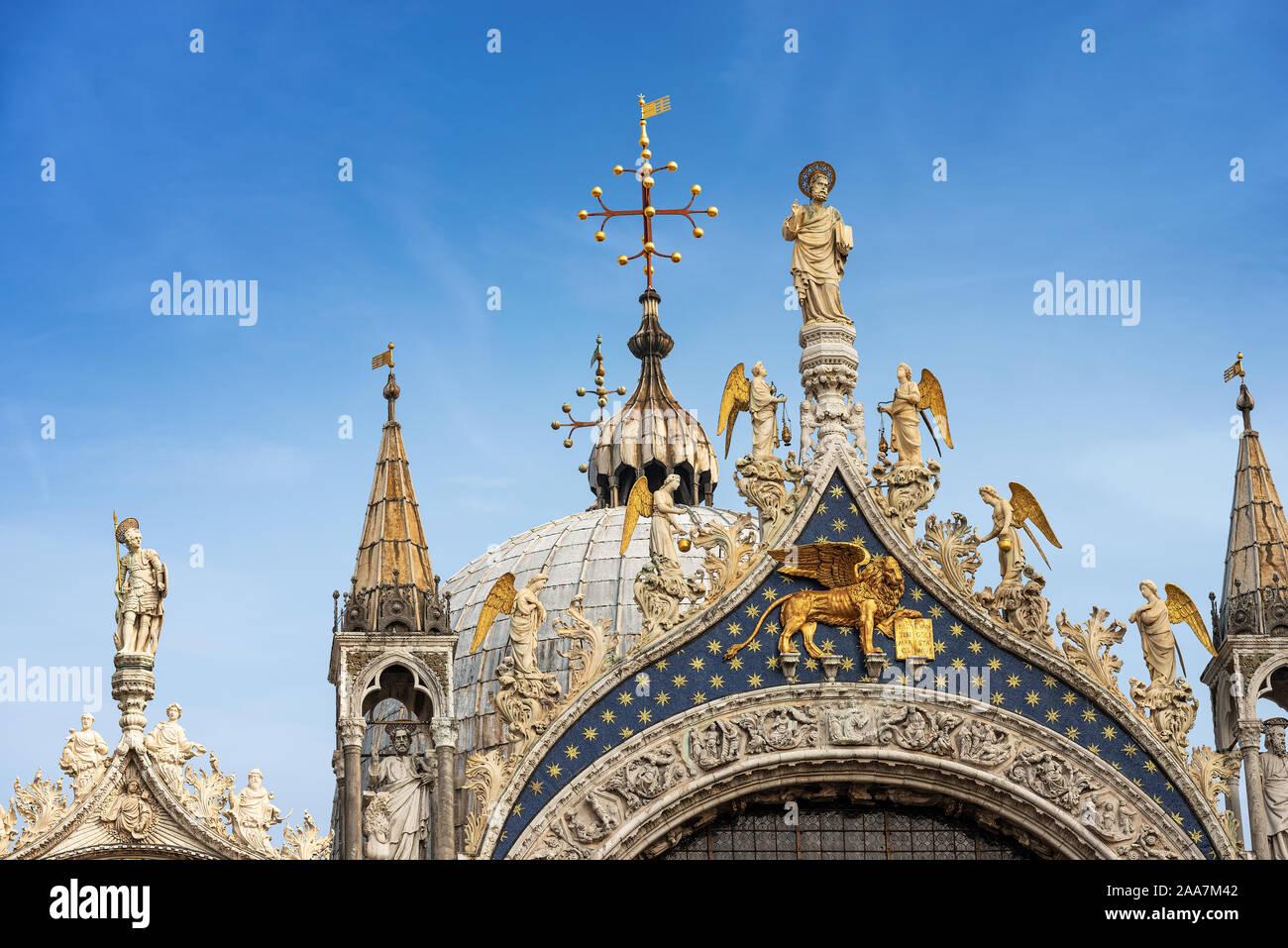 Catedral y de la basílica de San Marcos (St. El evangelista san Marcos), Venecia, sitio del patrimonio mundial de la UNESCO, Véneto, Italia, Europa Foto de stock