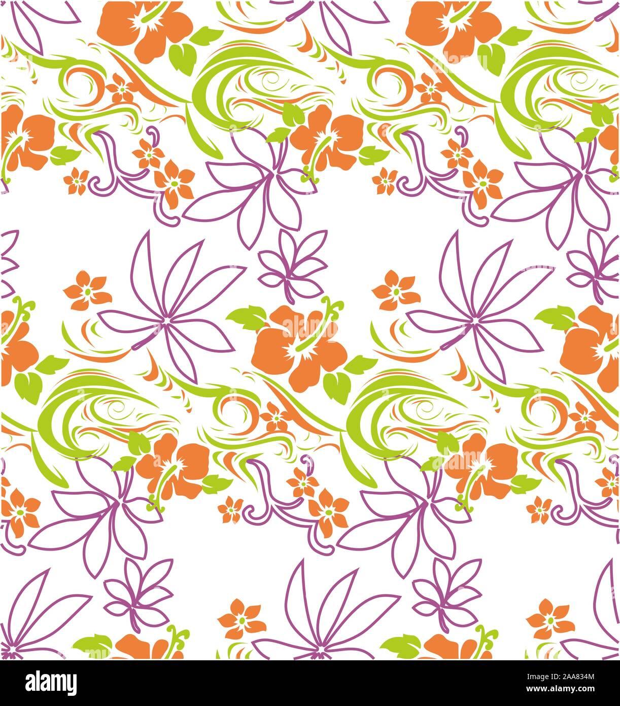 Lindo color flores de vectores. Seamless patrón floral sobre fondo blanco. Ilustración del Vector