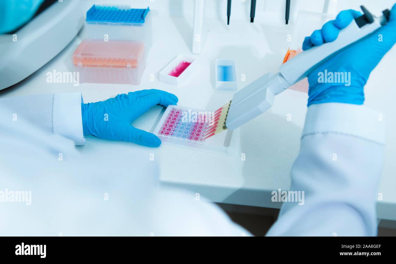 Ayudante médico trabaja con muestras de color Foto de stock