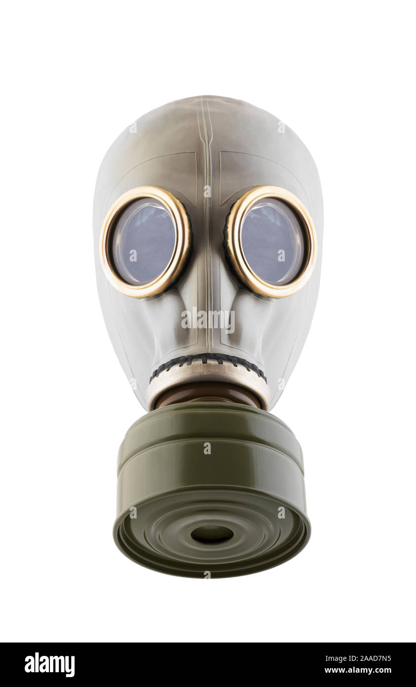 Máscara de gas aislado sobre fondo blanco con trazado de recorte. Contaminación del medio ambiente. Foto de stock