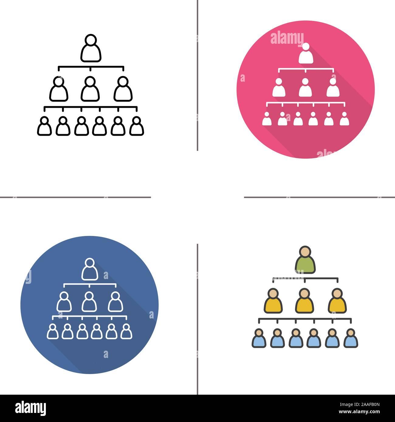 La Jerarquía De La Empresa Diseño Plano Lineal Y Los Iconos