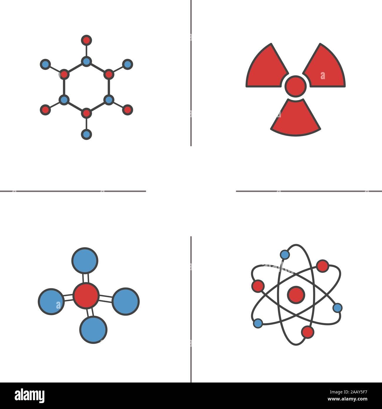 Iconos De Color De Química Y Física átomo Molécula