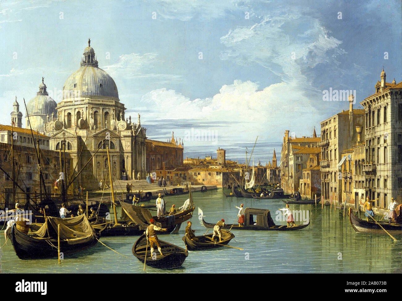 La entrada al Gran Canal de Venecia de Canaletto c. 1730 Foto de stock