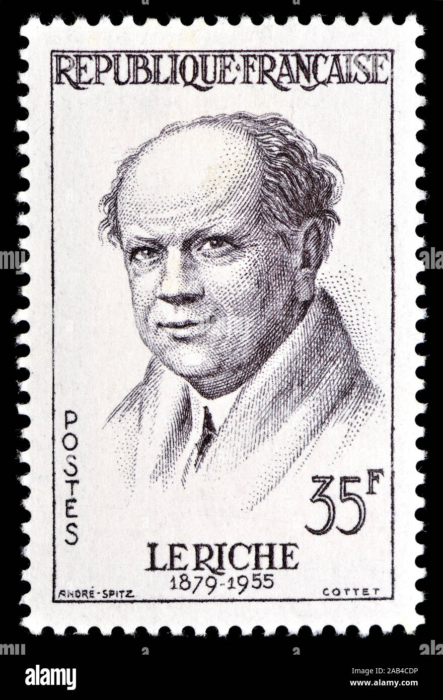 Sello francés (1958) : René Leriche (Henri Marie René Leriche: 1879 - 1955). Cirujano y fisiólogo francés Foto de stock