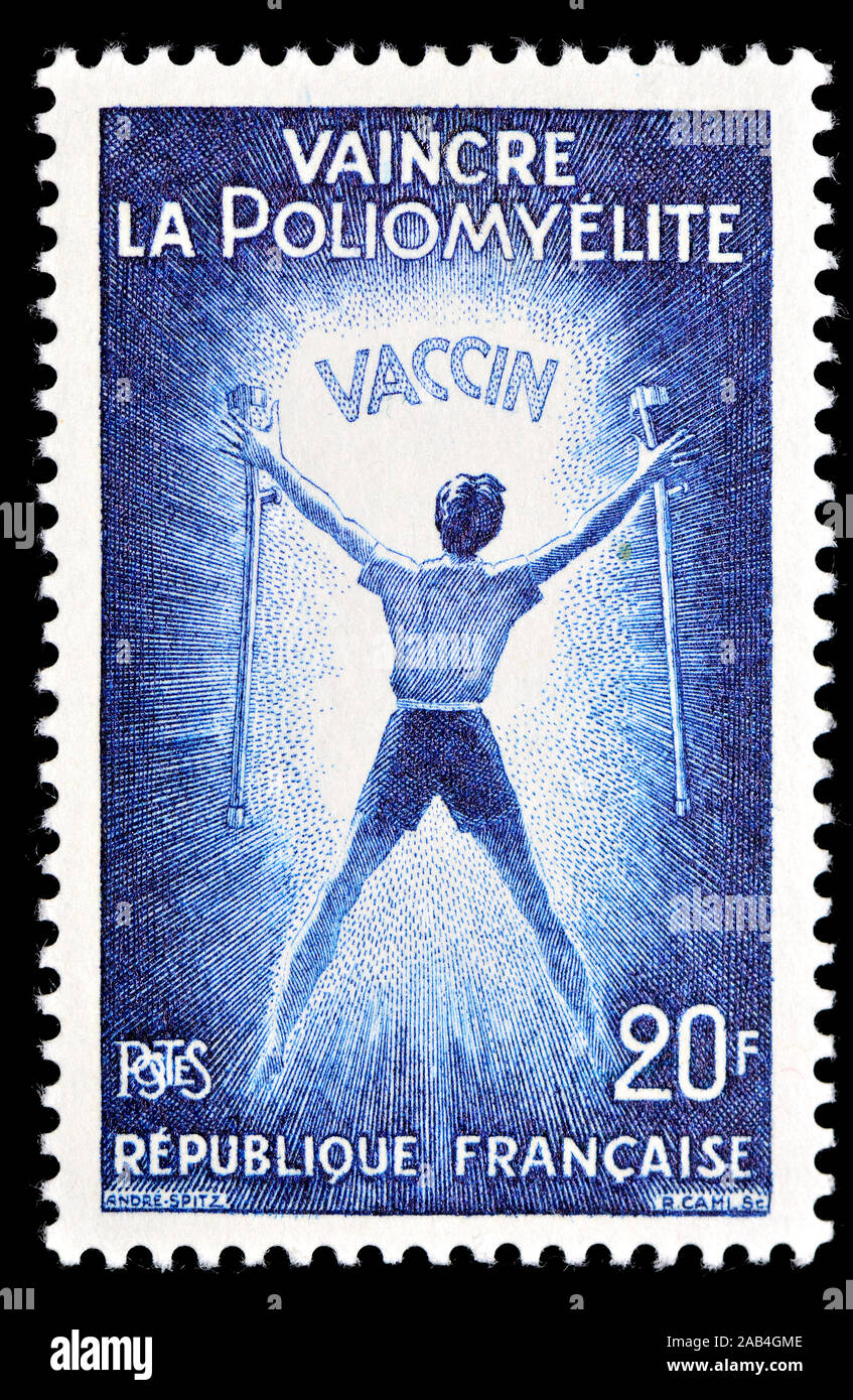 """Sello francés (1959): La vacuna contra la polio """"vencer la poliomielitis' Foto de stock"""