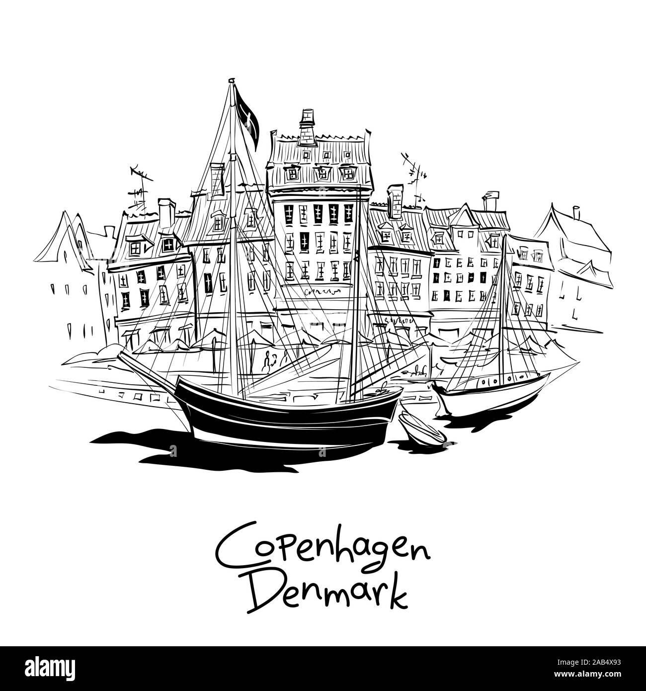 Blanco y negro vectorial boceto de Nyhavn, con fachadas de casas antiguas y viejas naves en el casco antiguo de la ciudad de Copenhague, capital de Dinamarca. Ilustración del Vector