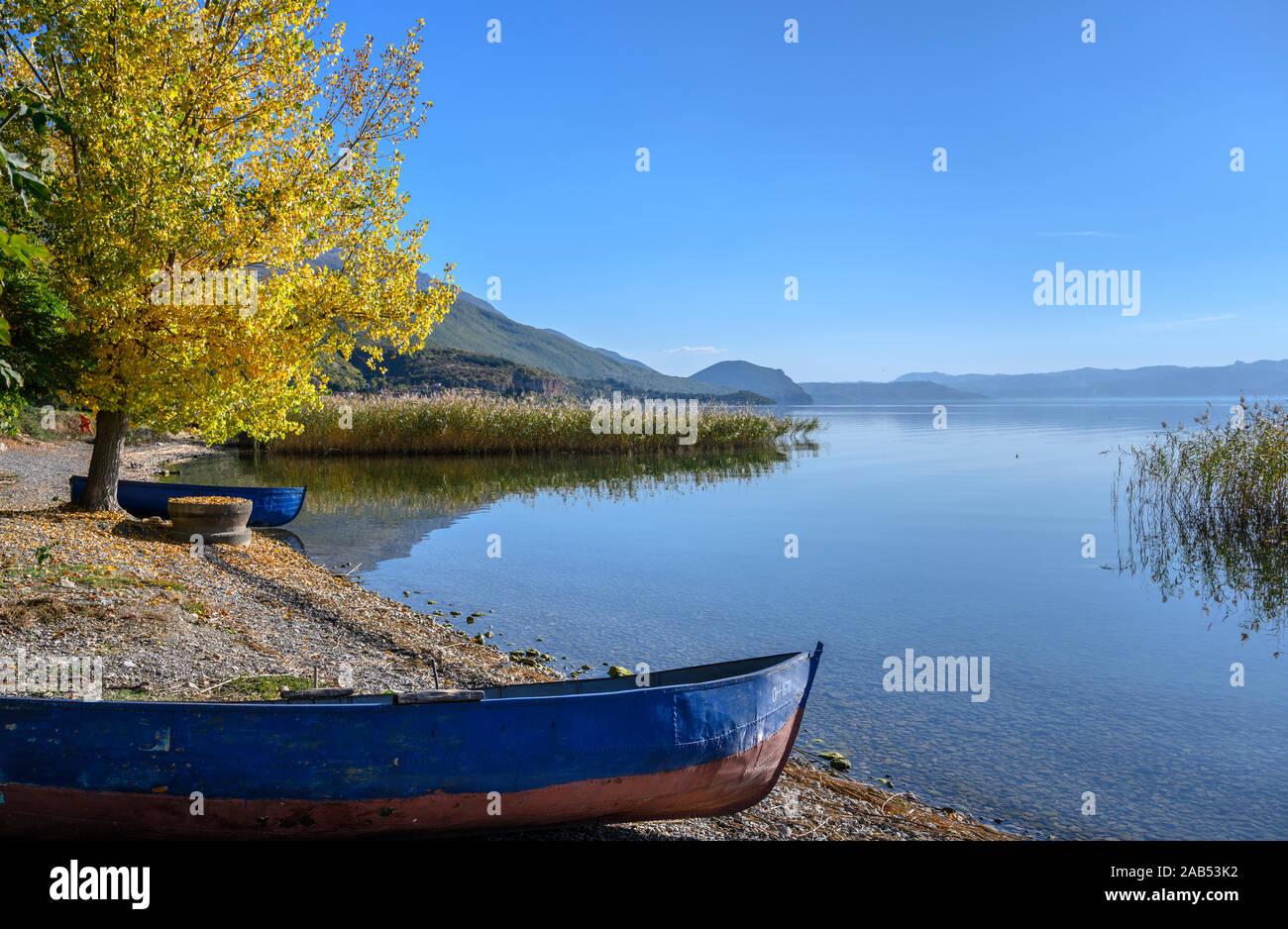Otoño en la orilla del lago Ohrid cerca Peshtani en el norte de Macedonia, Europa. Foto de stock