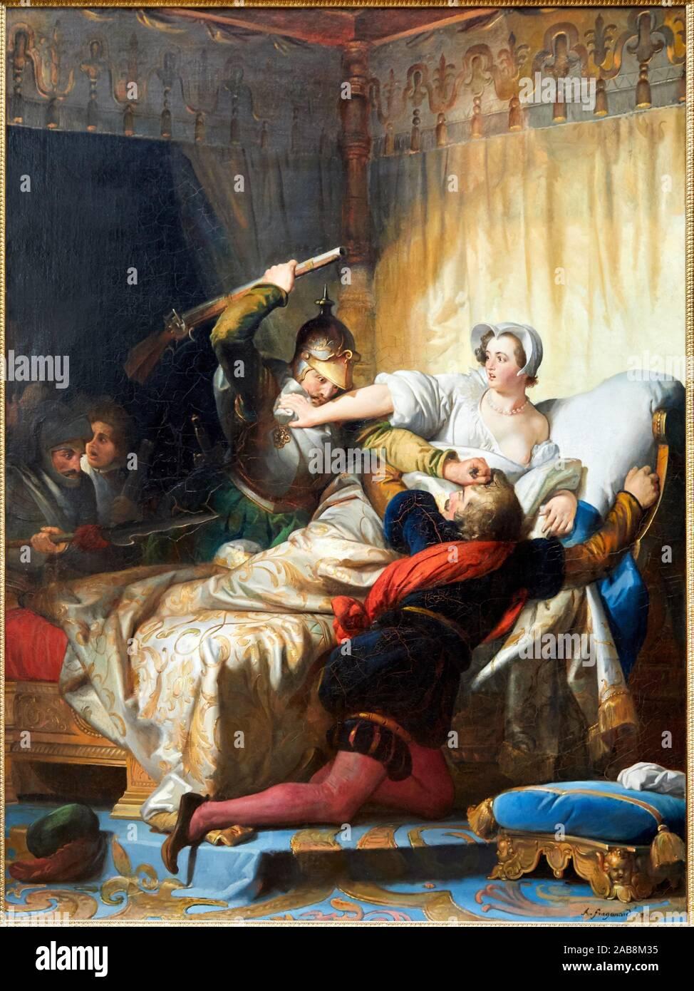 '''Scene desde la masacre del día de San Bartolomé en el apartamento de la reina de Navarra'' de 1836, Alexandre-Évariste Fragonard, 1780-1850, Musée Foto de stock