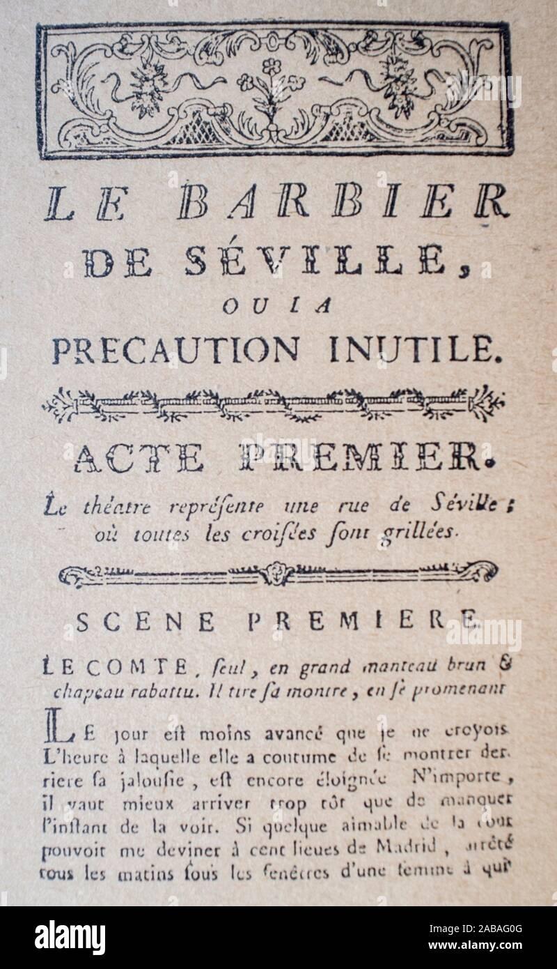 El Barbero de Sevilla o la inútil precaución primera página del libreto. Esta ópera fue escrita por Pierre Beaumarchais, con música original de Foto de stock