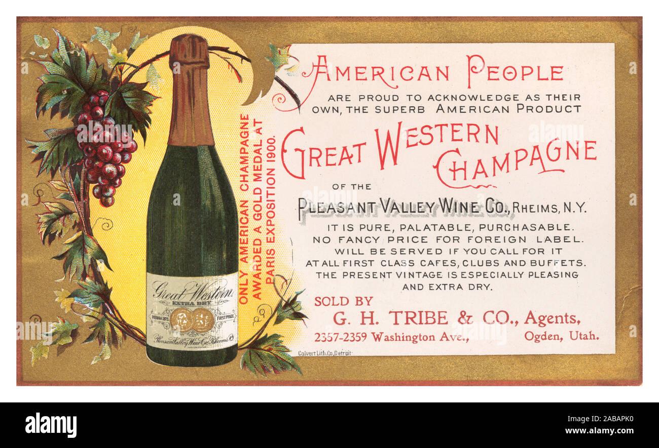 """Vintage 1900's Great Western color champagne temprano de prensa Publicidad publicidad postal americano """"Champagne"""" de Pleasant Valley vino Reims Co. de Nueva York, EE.UU. la producción de vino espumoso vino de América c 1912 Pleasant Valley Wine Company postal. Vendido por GH Tribu & Co Ogden, Utah, EE.UU. Foto de stock"""