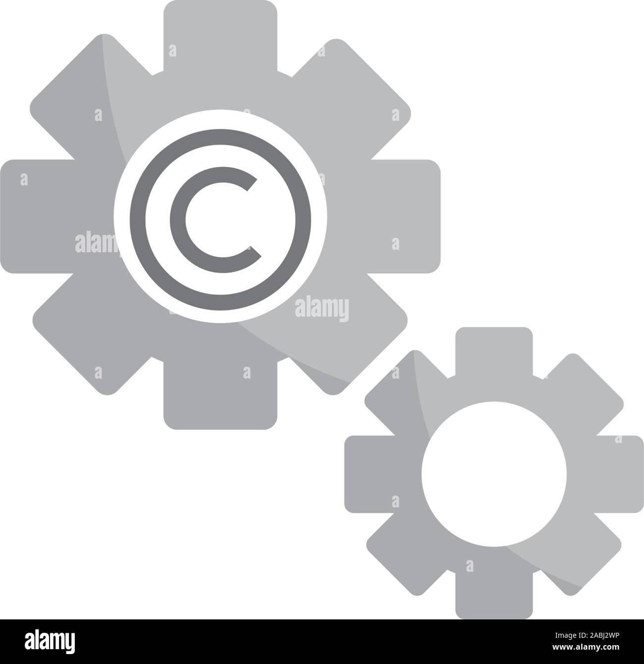 Ajuste de los engranajes de propiedad intelectual copyright icono ilustración vectorial Ilustración del Vector