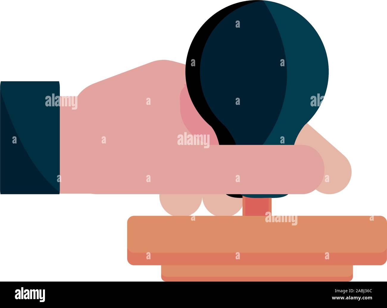 Mano con sello de goma icono copyright propiedad intelectual ilustración vectorial Ilustración del Vector