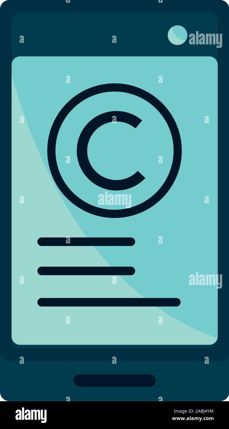 Propiedad intelectual copyright icono smartphone ilustración vectorial Ilustración del Vector
