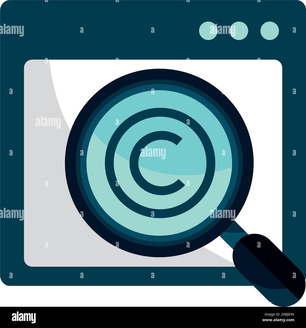Análisis del sitio de propiedad intelectual copyright icono ilustración vectorial Ilustración del Vector