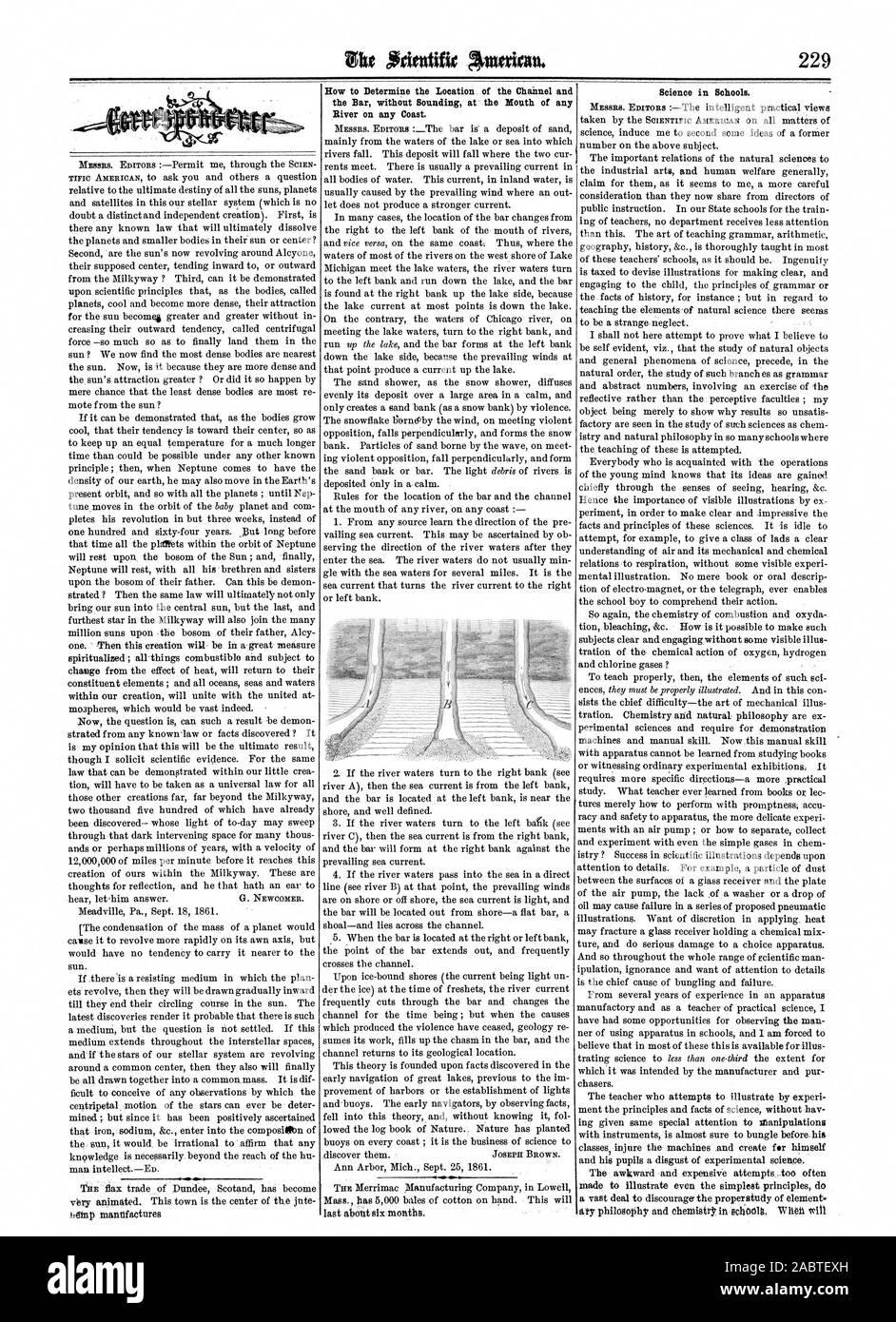 Cómo determinar la ubicación del canal y el Bar sin que suenen en la desembocadura de río en cualquier costa. La ciencia en las escuelas., Scientific American, 1861-10-12 Foto de stock