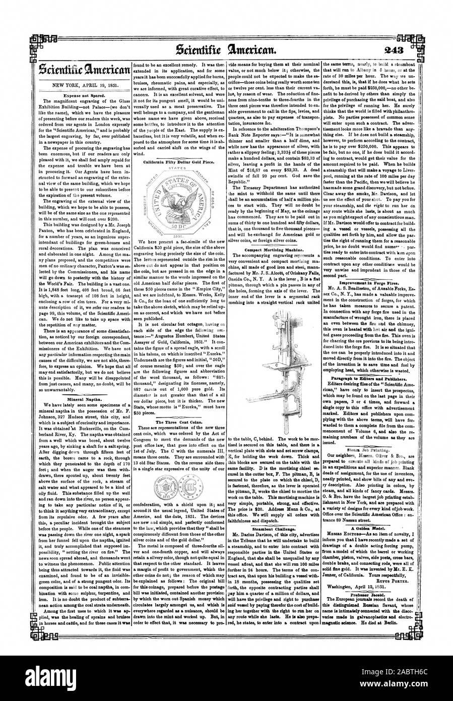 """América y la fecha 1851. Los dispositivos son nuevos y sencillos y perfectamente ajustado a la ley que dispone que """"serán notoriamente diferentes de los de las demás monedas de plata y oro del dólar.' El metal se compone de tres cuartas partes sil ver y una cuarta parte de cobre y siempre, Scientific American, 1851-04-19 Foto de stock"""
