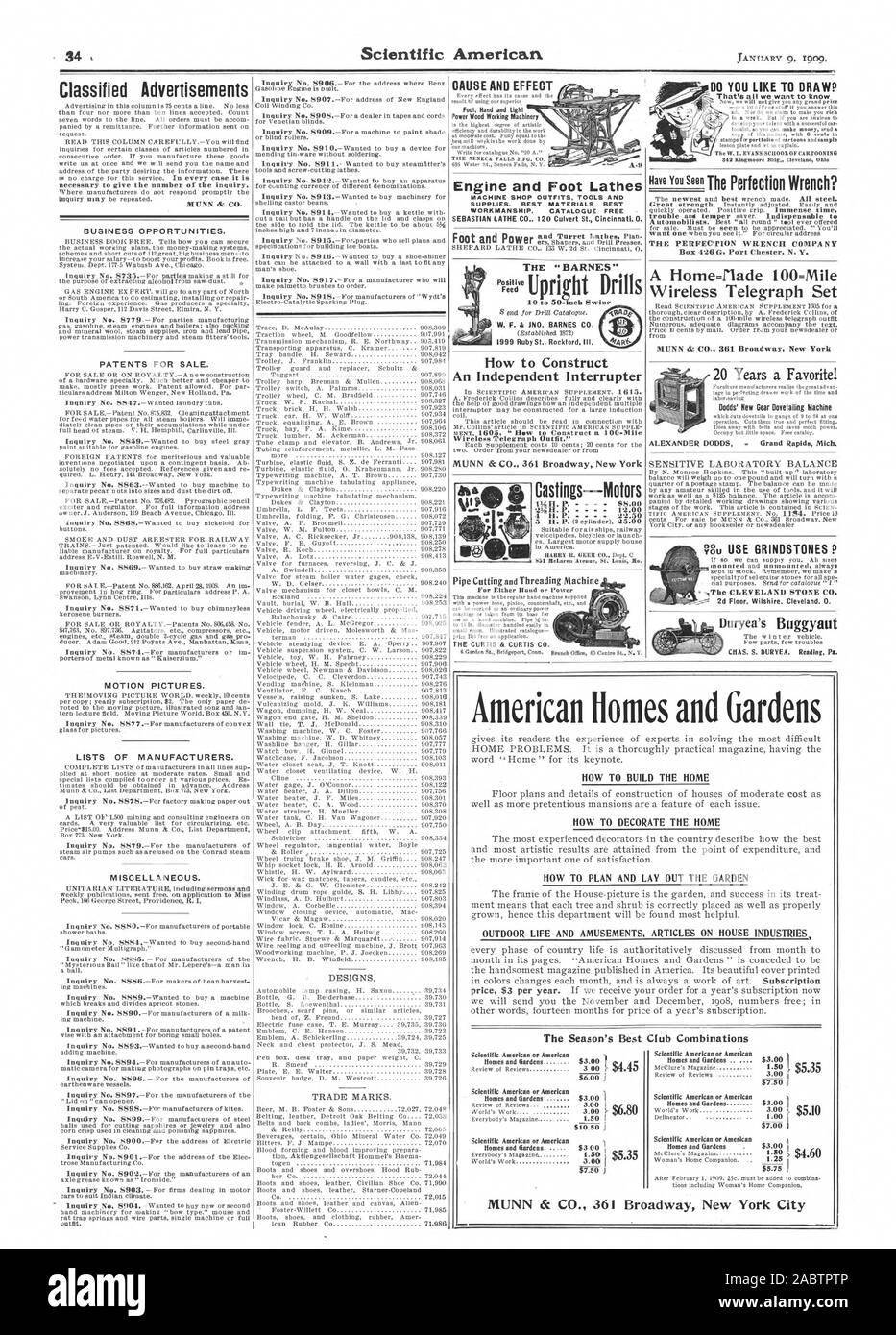 Conjunto telegráfica inalámbrica Dodds' nuevo engranaje trompo máquina ALEXANDER DODDS . Grand Rapids, Michigan. Vu utilizar muelas de P a la PIEDRA DE CLEVELAND CO. El 'BARNES ' W. F. & JNO. BARNES C 1999 Ruby St. Rockford Illinois Castings Motores - 88.00 4 H. P. 551 Melanina Arrnor IS. Loon No. American Homes y jardines inicio PROBLEMAS. Es una práctica completamente con la revista cómo construir la casa Cómo decorar la casa cómo planificar y diseñar el jardín de la vida al aire libre y atracciones artículos sobre industrias de la casa de la temporada del Mejor Club Americano o Scientific American Scientific American o Amehcan combinaciones Foto de stock