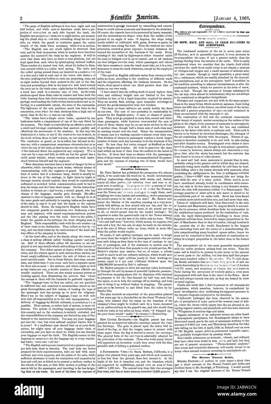 Omnibus trenes subterráneos. Sobre la nieve, la lluvia y el granizo EN SUS RELACIONES T la atmósfera. El túnel Hoosac taladros, Scientific American, 1868-01-04 Foto de stock