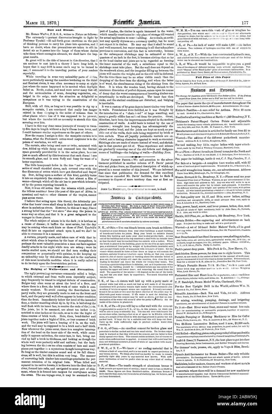 El polvo y la enfermedad. El abombamiento de las paredes-causa y prevención. Archivos completos de este papel, Scientific American, 70-03-12 Foto de stock