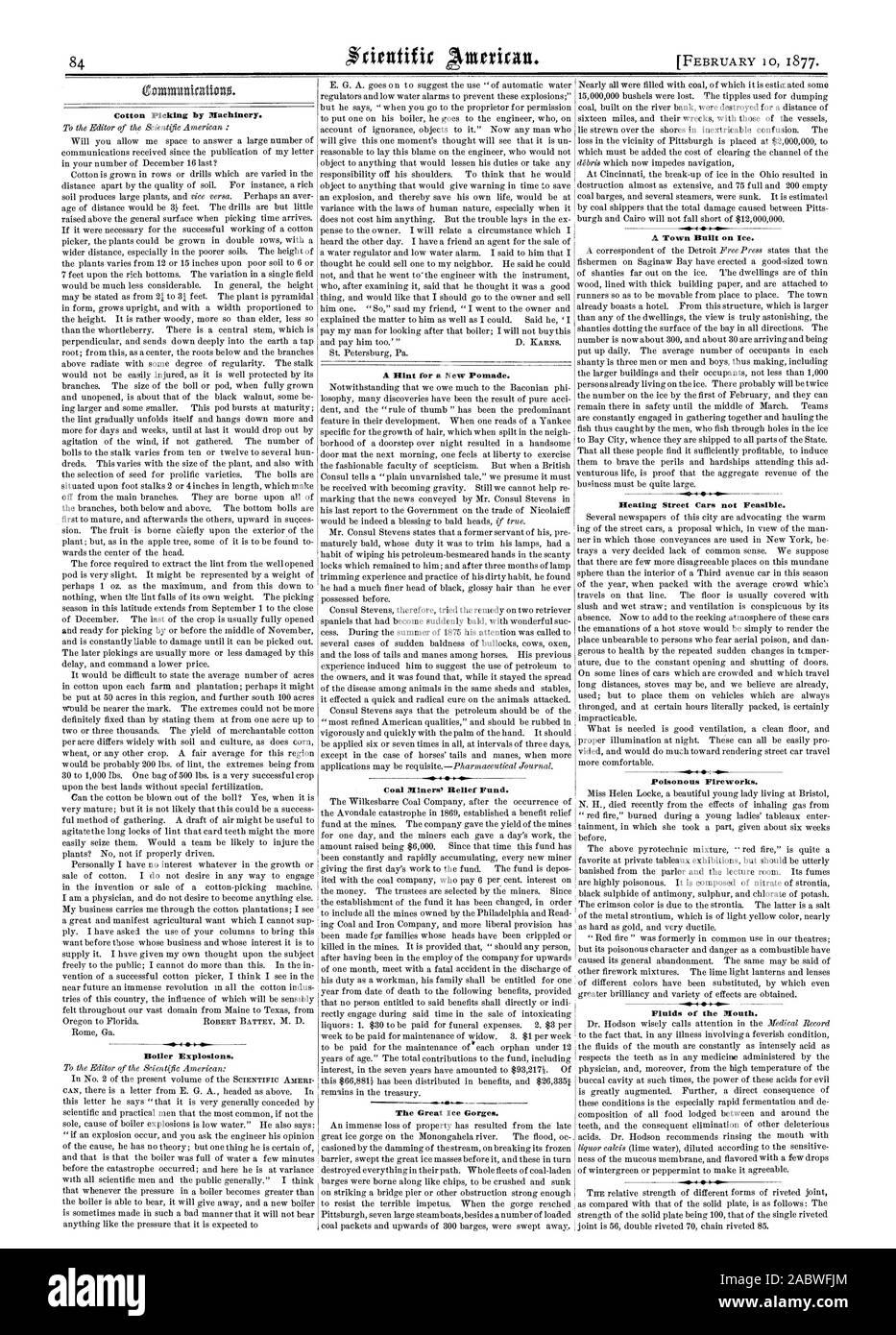 Recogiendo algodón por las máquinas. Explosiones de calderas. Una sugerencia para una nueva pomada. Fondo de Socorro de la minera de carbón. Los grandes desfiladeros de hielo. .0 40. Una ciudad construida sobre el hielo. Calefacción coches de calle no sea viable. Fireworks venenosos. Los fluidos de la boca., Scientific American, 1877-02-10 Foto de stock