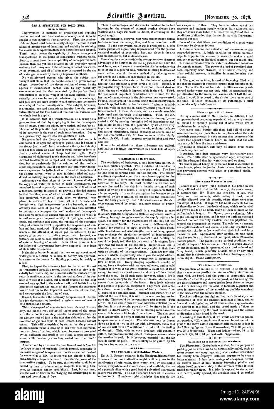 """Por X. H. Fuerte. La ventilación de los dormitorios. La filtración de agua potable. Cómo deshacerse de las hormigas. El Gusano Barrenador de Texas."""" .a. La Ciencia de la molienda. La celulosa como material para las arandelas, Scientific American, 1878-11-11 Foto de stock"""