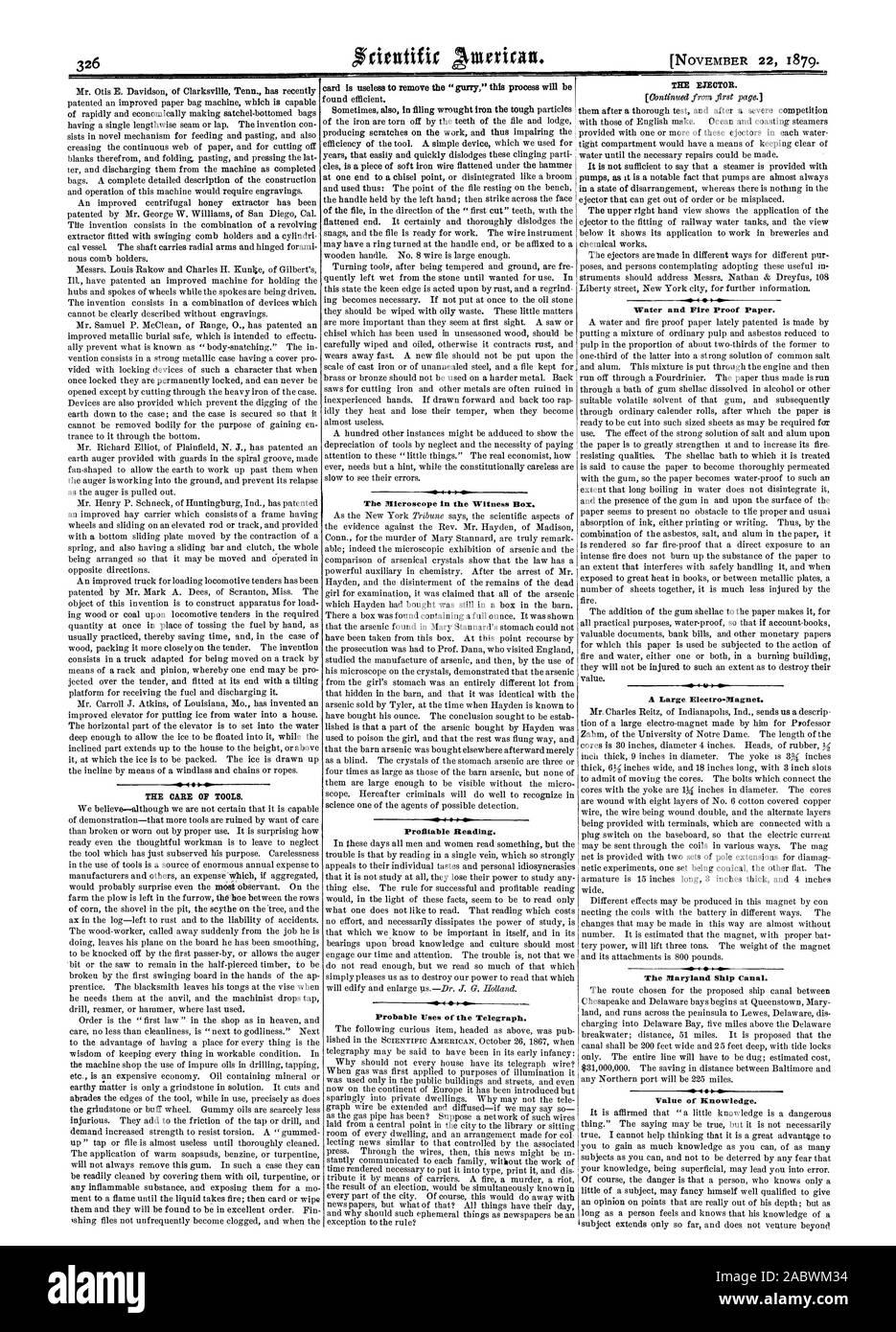 Tarjeta es inútil para extraer el ' gurry' este proceso será rentable a la lectura. Usos probables del telégrafo. f agua y papel a prueba de incendios. Un gran Electro.imán. El Maryland Ship Canal. Valor del conocimiento., Scientific American, 1879-11-22 Foto de stock