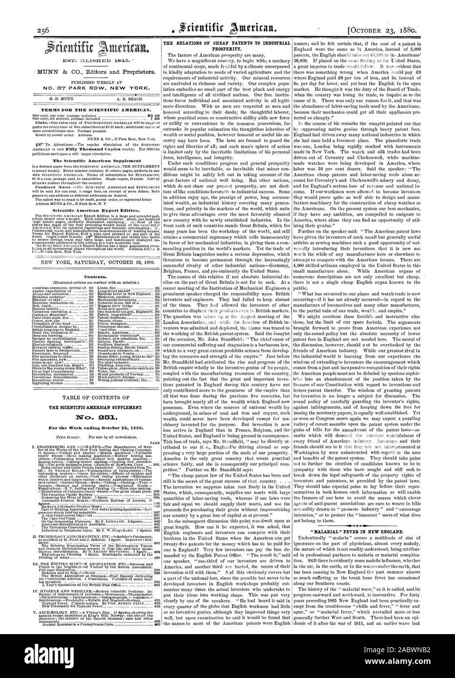 Nº 37 Park Row en Nueva York. Los términos para la Scientific American. Scientific American Edición para exportación. Contenido. La Scientific American Suplemento nº 251 LAS RELACIONES DE PATENTES BARATO DE LA PROSPERIDAD INDUSTRIAL. ' ' Fiebre palúdica en Nueva Inglaterra., 1880-10-23 Foto de stock