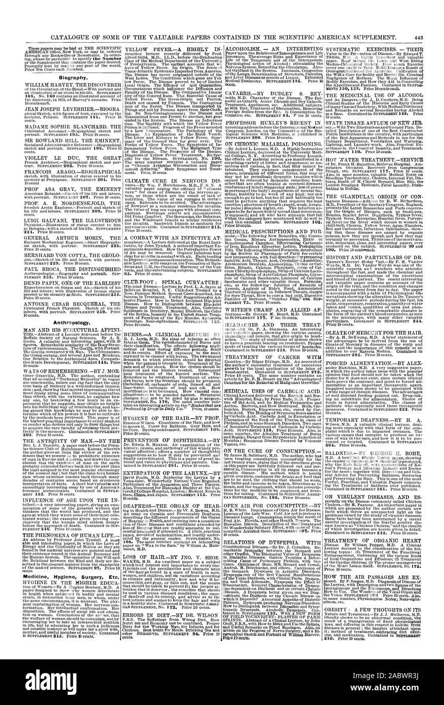 Biografía. La antropología. Medicina Cirugía Higiene Etc. Las relaciones de la dispepsia, Scientific American, 1881-12-31 Foto de stock